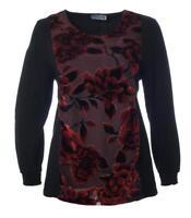 Abendmode Langarm-Shirt für Damen in A-Linie Schwarz Rot große Größen