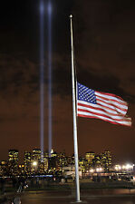 9/11 Tribute Lights New York World Trade Centre Poster American Flag Picture NEW