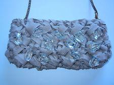"LORENZA GANDAGLIA ""Lisette"" Canvas & Crystal Bead Evening Bag Purse"