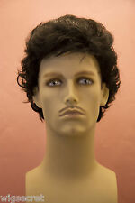 Black Brunette Medium Wavy Men Wig