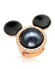 DISNEY Mickey Mouse Ring in Black Enamel and Gold Plated Base Metal Size 7.