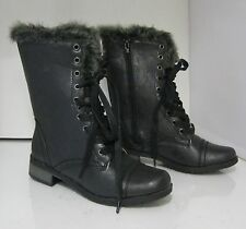 Womens Black Low Heel Lace Military Combat Riding Ankle Sexy Boots Size 6