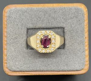 Mens solitaire Ring 14k Gold 3/4ct Ruby with Natural diamond accents Size 12