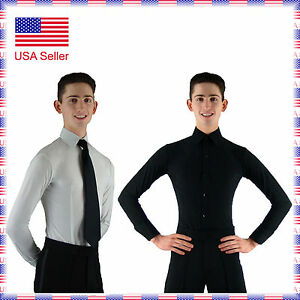 """MS961 Mens Ballroom Smooth Dance Shirt with Briefs in White or Black (14""""-18"""")"""