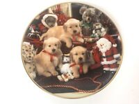 "Franklin Mint Lab Pups Christmas Cheer Royal Doulton  8"" Collector Plate"