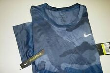 nike mens dri-fit standard fit athletic crew neck polyester t-shirt-camo blue-Sm
