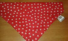 Slide on dog bandanas size XS red with white stars. Polycotton handmade