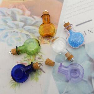 6PCS Glass Wishing Bottle Message Bottle Pendant Charms Jewelry DIY Accessories