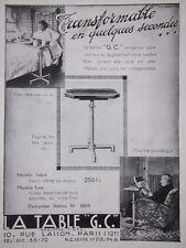 PUBLICITÉ PRESSE 1935 TABLE G.C. TRANSFORMABLE EN QUELQUES SECONDE -ADVERTISING