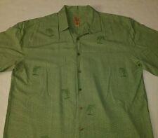 Jos A Bank 100% Silk Camp Shirt Mens L Lime Green Embroidered Palm Tree Hawaiian