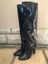 Jimmy Choo Navy Patent Leather Knee High Boots - Brand New In Box 37 / 4