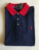 $90 NWT Mens Polo Ralph Lauren Custom Slim Fit Mesh Polo Shirt Navy w/Red Collar