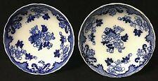 """Antique Vintage Cauldon England Candia Flow Blue Floral 6"""" Dish Lot Of 2"""