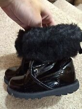 Baby Girls Next Black Patent Chelsea Boots Shoes Infant Size 5