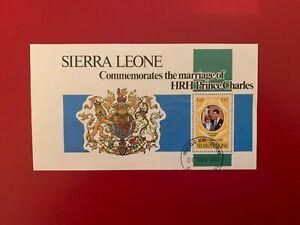 SIERRA LEONE 1981 USED PRINCE CHARLES PRINCESS DIANA WEDDING MINISHEET