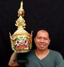 Thotsakan Mask Khon Gold Giant Thai Handmade Ramayana Home Decor Collectible New