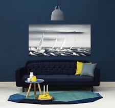 Tableau moderne bateau paysage marine déco contemporaine, peinture toile+châssis