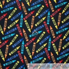 BonEful FABRIC FQ Cotton Quilt Flannel Crayola Crayon Red Blue Green Yellow Kid