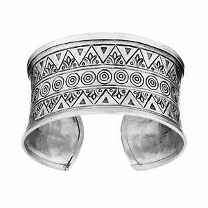 81stgeneration .999 Fine Silver Hill Tribe Patterned Adjustable Bangle Bracelet