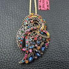 Betsey Johnson Multi-Color Crystal Rhinestone Flower Pendant Necklace/Brooch