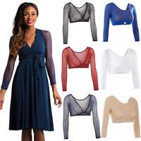 Plus Size Women's Basic 3/4 Length Slip-on Mesh Sleeves Seamless Arm Shaper Top