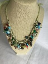 Multi Color Glass Bead Charm Necklace with Ribbon