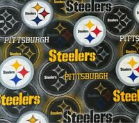 Pittsburgh Steelers Fabric, 100% Cotton Fat Quarter quilting masks NFL Football