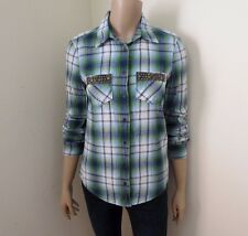 Abercrombie Womens Plaid Flannel Shirt Size XS Top Studded Pocket Blue & Green