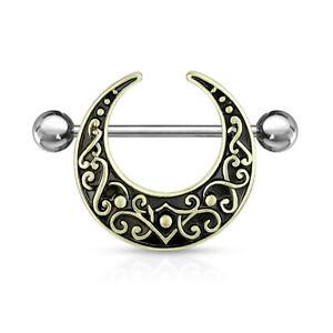 PAIR Crescent Shaped Filigree Nipple Rings Shields Body Jewelry