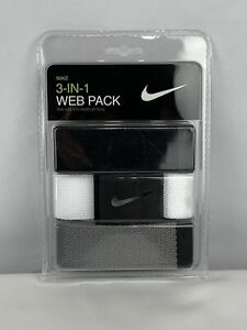 NIKE MEN'S WEB BELT 3 IN 1 PACK BLACK/GREY/WHITE CUT TO FITS SIZE UP TO 42 NEW