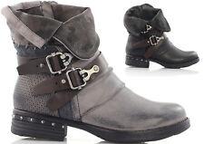 Damen Stiefeletten Biker Boots flache Winterschuhe Nieten Damenschuhe Stiefel