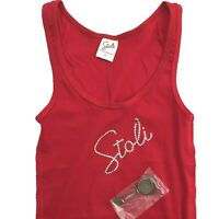 Stoli womens tank top with keychain red Size L large medium beaded logo