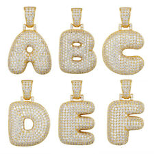 Custom Bubble Letter A Initial Pendant Sterling Silver Gold Finish CZ Iced Out