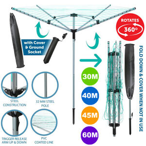 4 Arm Rotary Airer Outdoor Washing Line Clothes Dryer Free Ground Spike & Cover