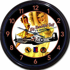 P-51 Mustang Airplane Nose Art Pinup Wall Clock WWII Korean War Bomber Aviation