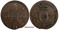 SWEDEN Carl XIII Copper 1815 1/2 Skilling NICE DETAILS KM# 590