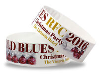Custom Printed Christmas Wristbands: 25mm Bands Full Colour - 10 Designs