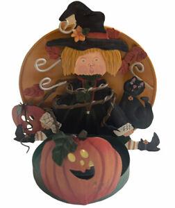 Vintage Kathy Hatch Witch Tea Light Holder 2001 Halloween Holiday Decor RARE