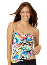 Anne Cole multi color bandeau Painterly Paisley tankini top size XS no strap