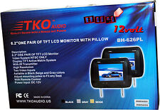 "TKO Audio BH-626PL Black 6.2"" Pair of TFT-LCD Monitors with Universal Headrests"