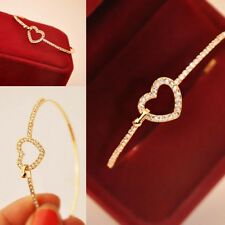 Fashion Charm Women Cuff Gold Plated  Love Heart Crystal Bangle  Bracelet Jewel