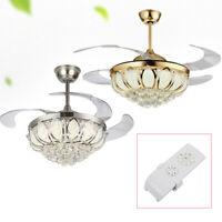 "42"" Modern Crystal Ceiling Fan Light LED Chandelier Remote Ceiling Lamp 110V 42W"