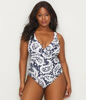 ANNE COLE SIGNATURE Navy Paisley One-Piece Swimsuit, US 12, NWOT