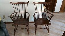 Two Colonial Fan Virginia Craftsman Reproduction Comb-Back Windsor Armchairs