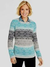 NEW $89 TALBOTS Blue,Gray Ombre Fair Isle Sweater Sz XL ( 18,20 )