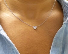 CUBIC ZIRCONIA SOLITAIRE NECKLACE  STERLING SILVER 925 0.75CT RHODIUM PLATED