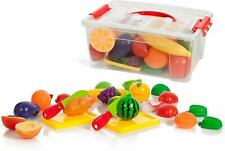 IQ Toys Deluxe Play Food Pretend Playset 35 Hard Plastic Piece Set of Food