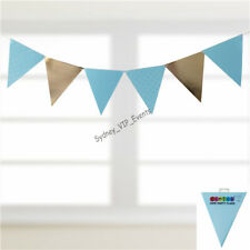 BLUE GOLD PARTY FLAG 30PK BABY SHOWER PARTY POLKADOT HANGING BUNTING BOY BANNER