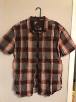 PRANA Mens Short Sleeve Brown Orange Plaid Button Front Shirt sz XL XLarge EUC