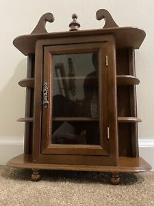 Vintage  Jay Import Co. Inc Dark Wood Curio  Cabinet Stand Alone/Wall Mount